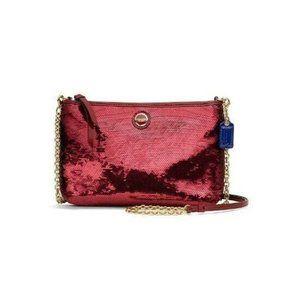RARE COACH CROSSBODY CLUTCH Bag Red SEQUINS 48422